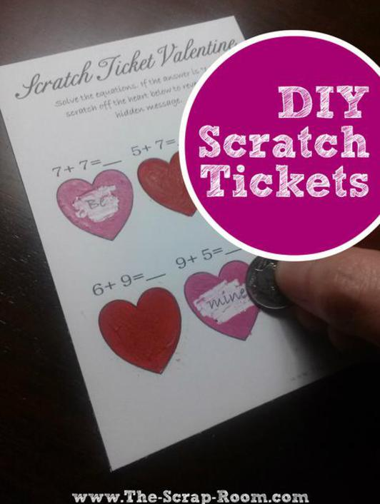 Card DIY Scratch Ticket Tutorial and Templates – Scratch off Valentine Card